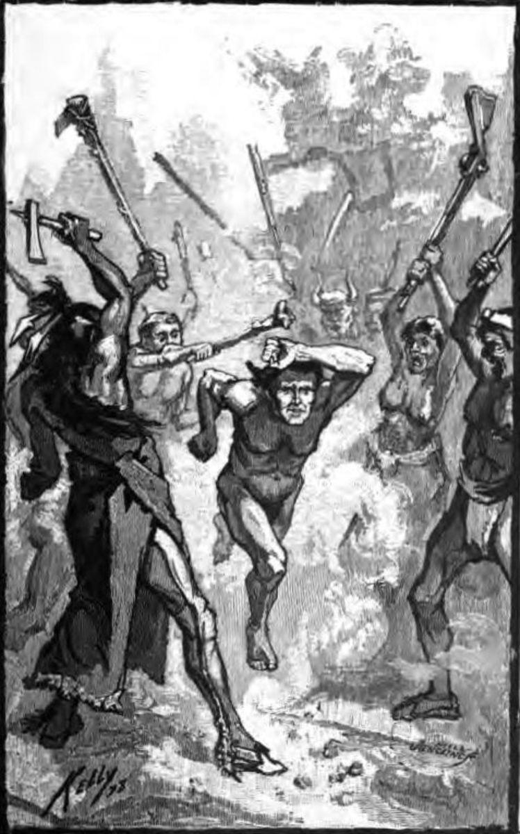 A captive runs the Shawnee gauntlet.