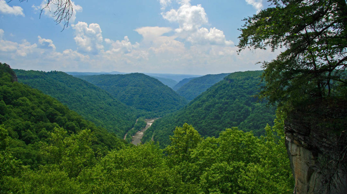 The women hiked through the New River Gorge, which cuts a deep chasm through West Virginia.