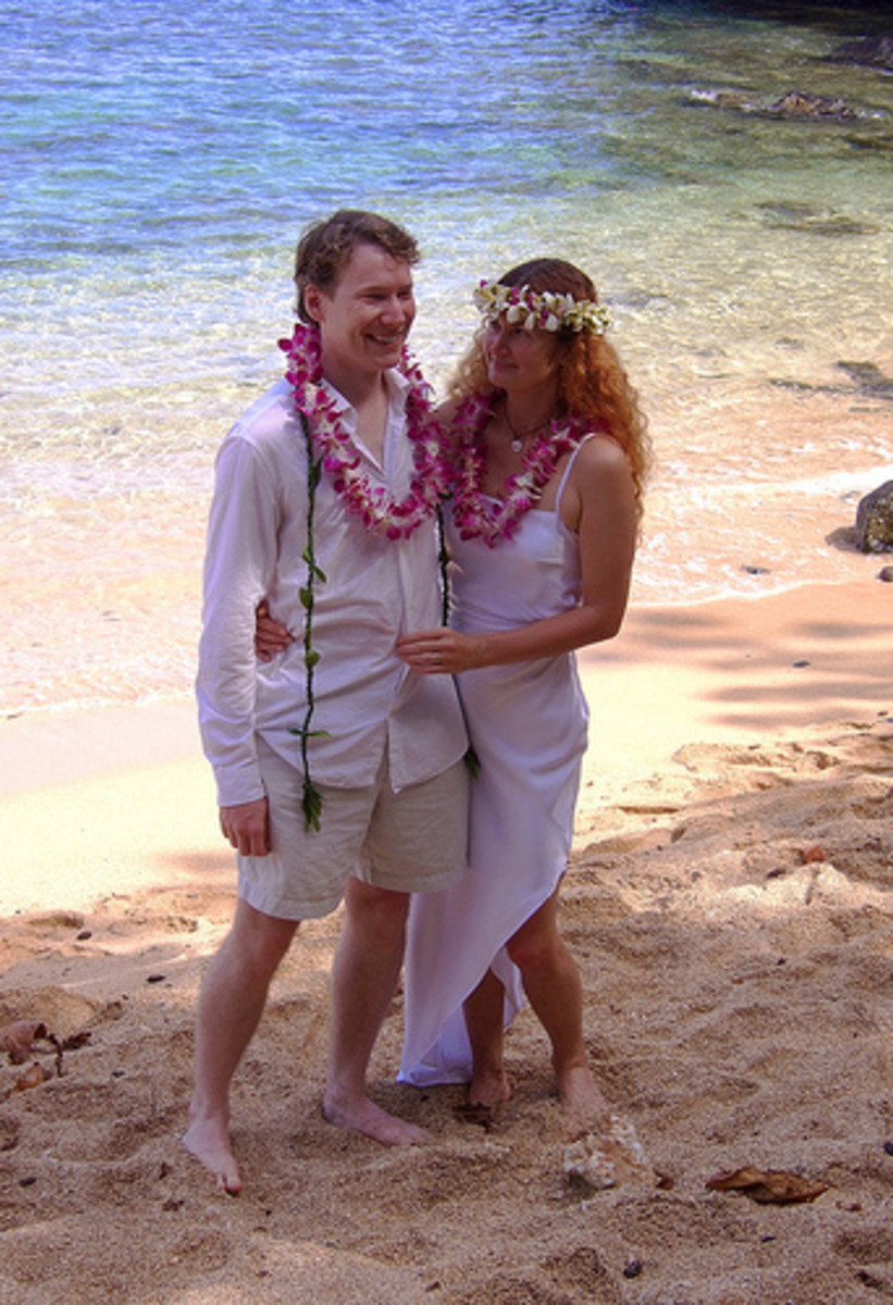 A Hawaiian wedding complete with leis.