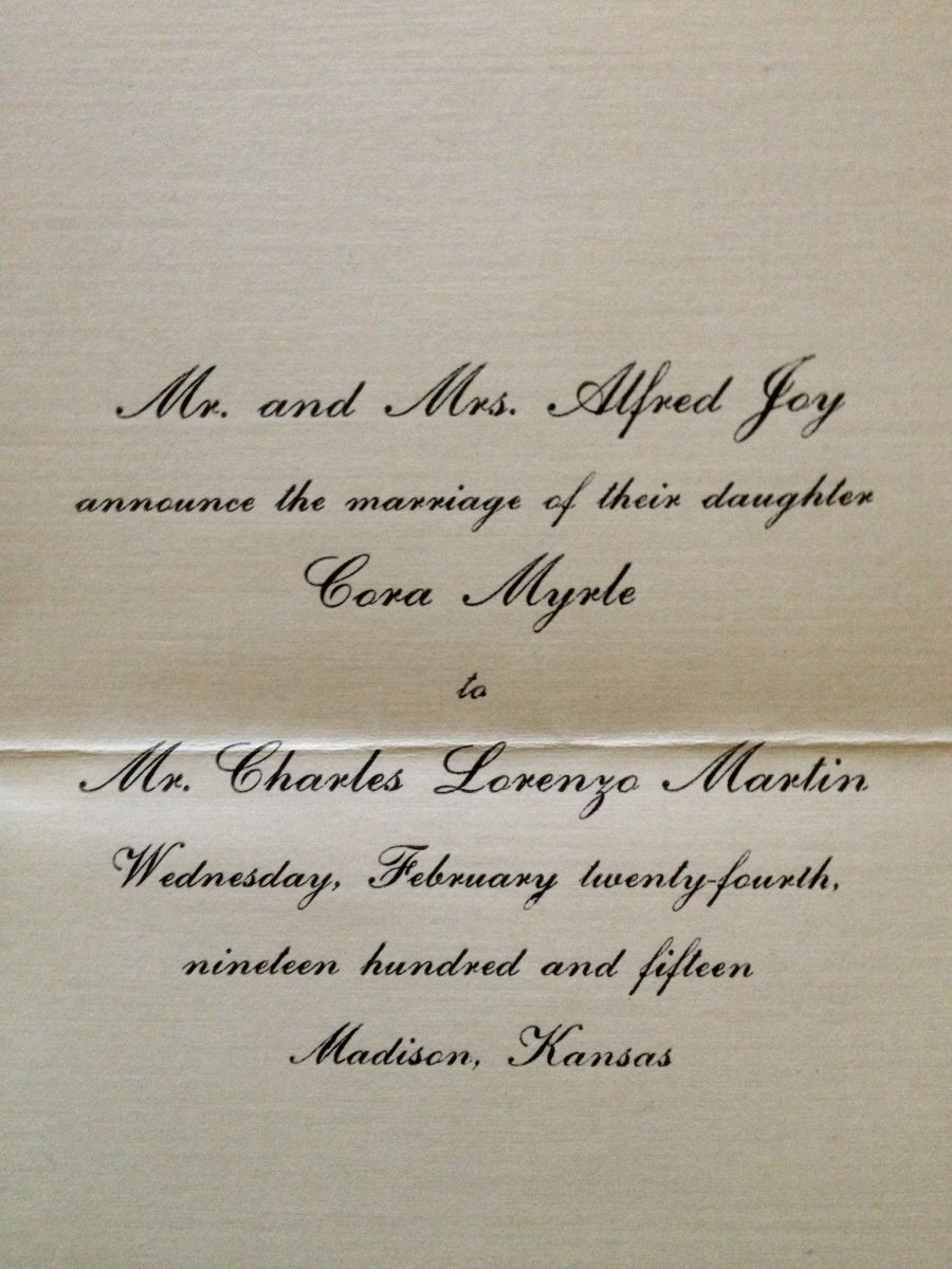 The wedding announcement for Cora and Ren Martin's wedding in 1915. They are my paternal grandparents.
