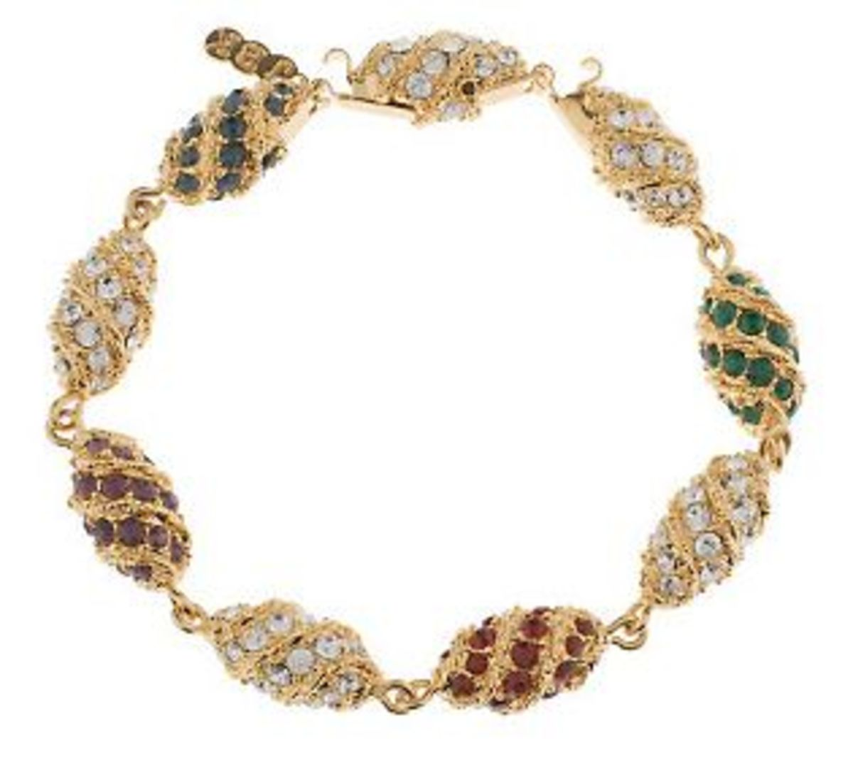 A replica of the Jackie Kennedy Onasis bracelet that was presented by Aristotle Onasis on Easter and cost $312,000