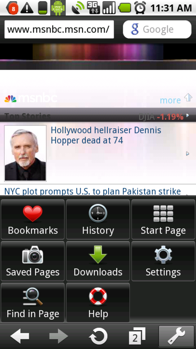 """Opera 5 Mini showing MSNBC with """"mobile view"""" turned on"""