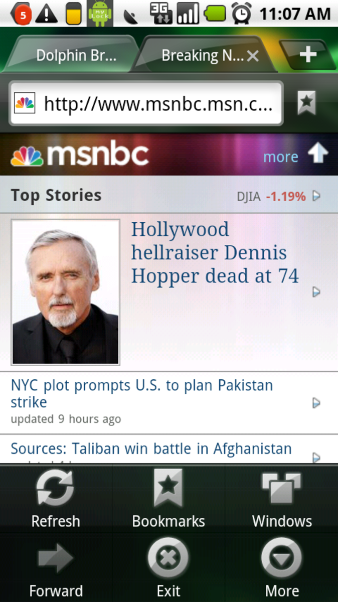 Dolphin HD with MSNBC mobile loaded. See the tabs on top?