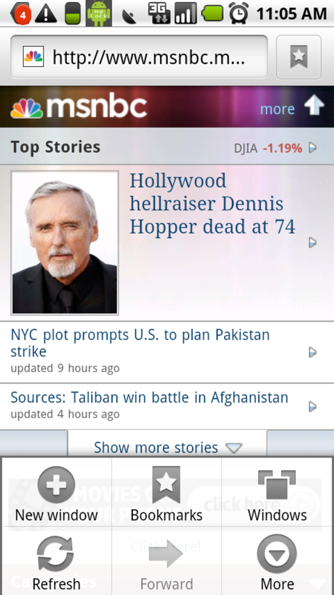 Default Android 2.0 Browser, showing MSNBC mobile