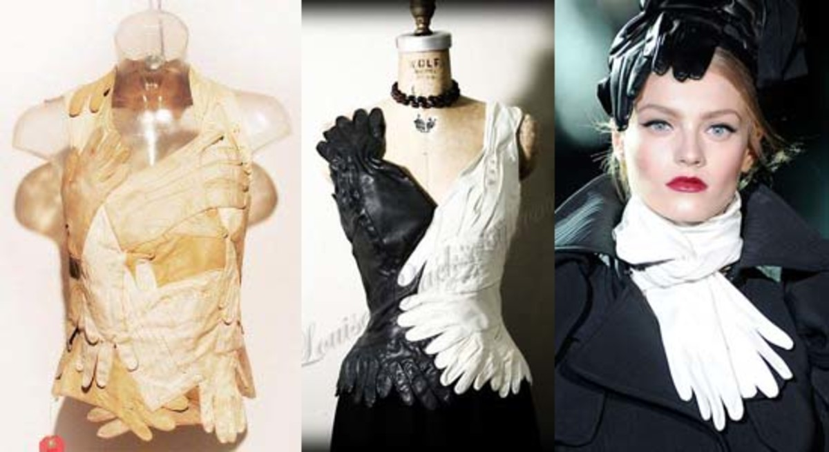 blouse made of different gloves