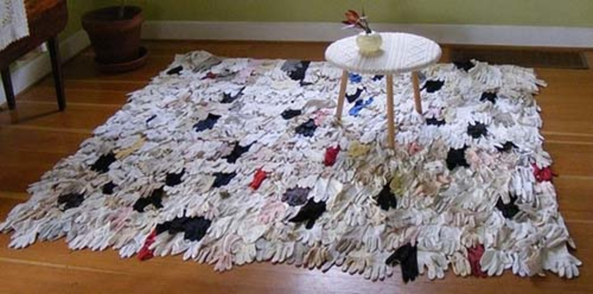 Artist Rachel Dennys' functional glove rug with thousands of gloves
