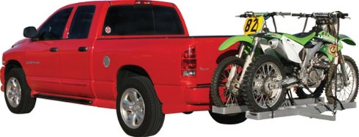*Dual Aluminum Motorcycle Hitch Carrier*    Load up & haul 2 dirt bikes with our hitch mounted double motorcycle carrier. The AMC-600-2 is constructed of aluminum with a steel powder coated main hitch tube for added support. An included ramp is used
