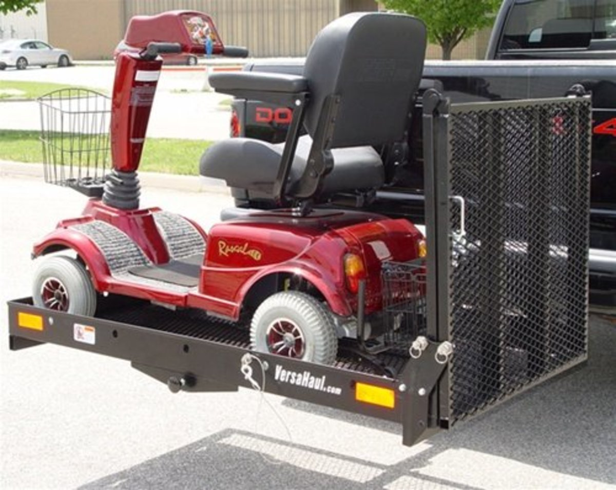 *Versahaul Mobility Scooter Carrier XL*    The VH-MS XL will fit into your class III or IV hitch. Tray has a 58.75 in. x 32.75 in. of carrying area. Its durable powder coating helps prevent your carrier from any harsh environment conditions. All you