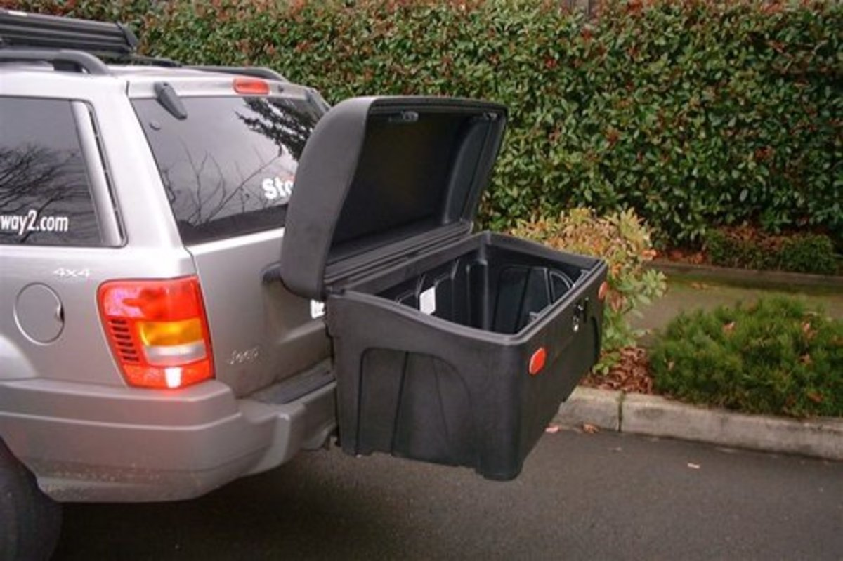 *Stowaway2 Sport Cargo Carrier*    A standard-sized carrier box equipped with reflectors and our rugged high-rise frame. Convenient, ground-level access to your gear. Box features reflectors and is mounted to StowAway2's high-rise fixed frame, which