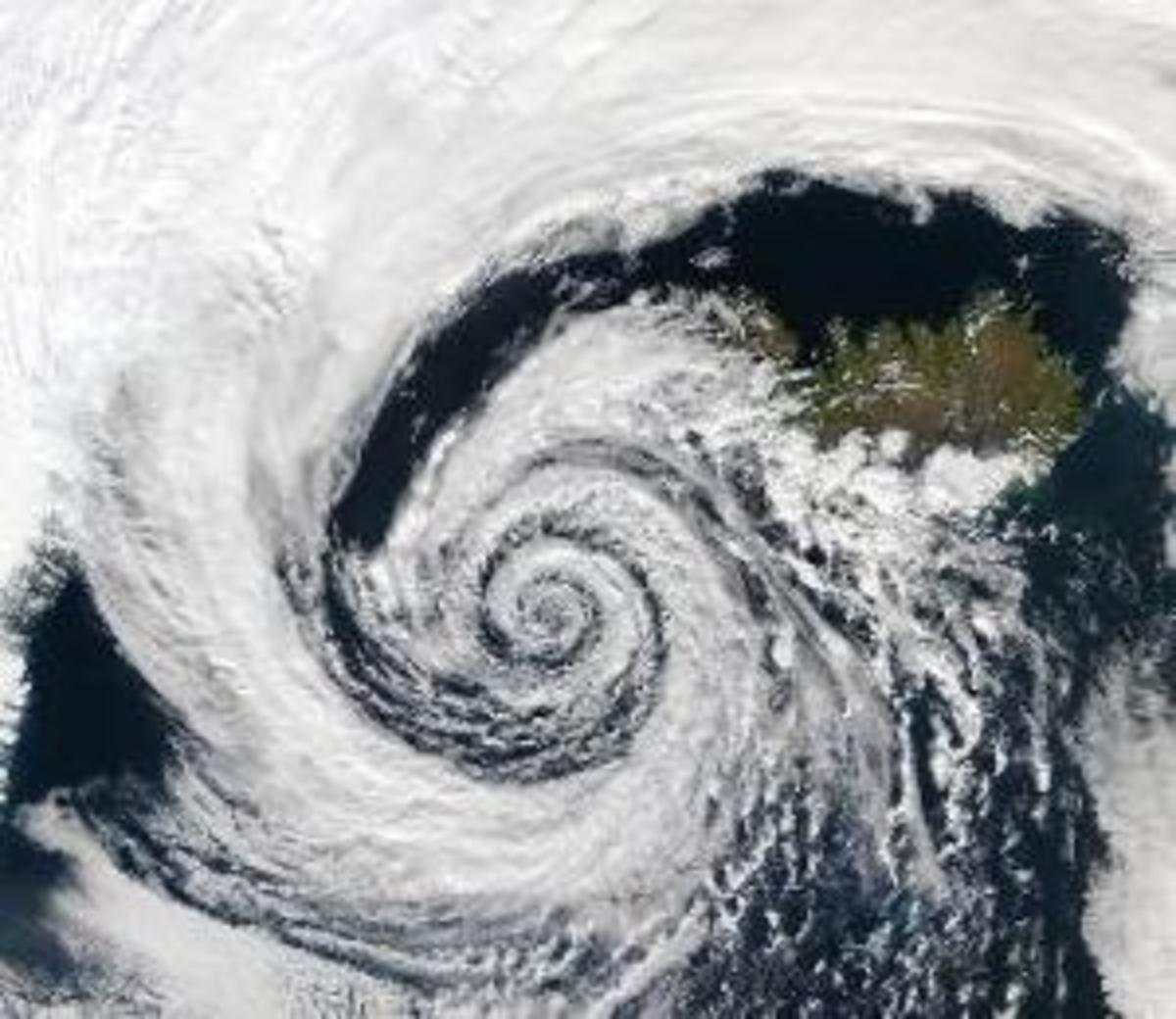 The Coriolis effect shapes all storm fronts, giving the characteristic spiral effect seen here between cold and hot air.