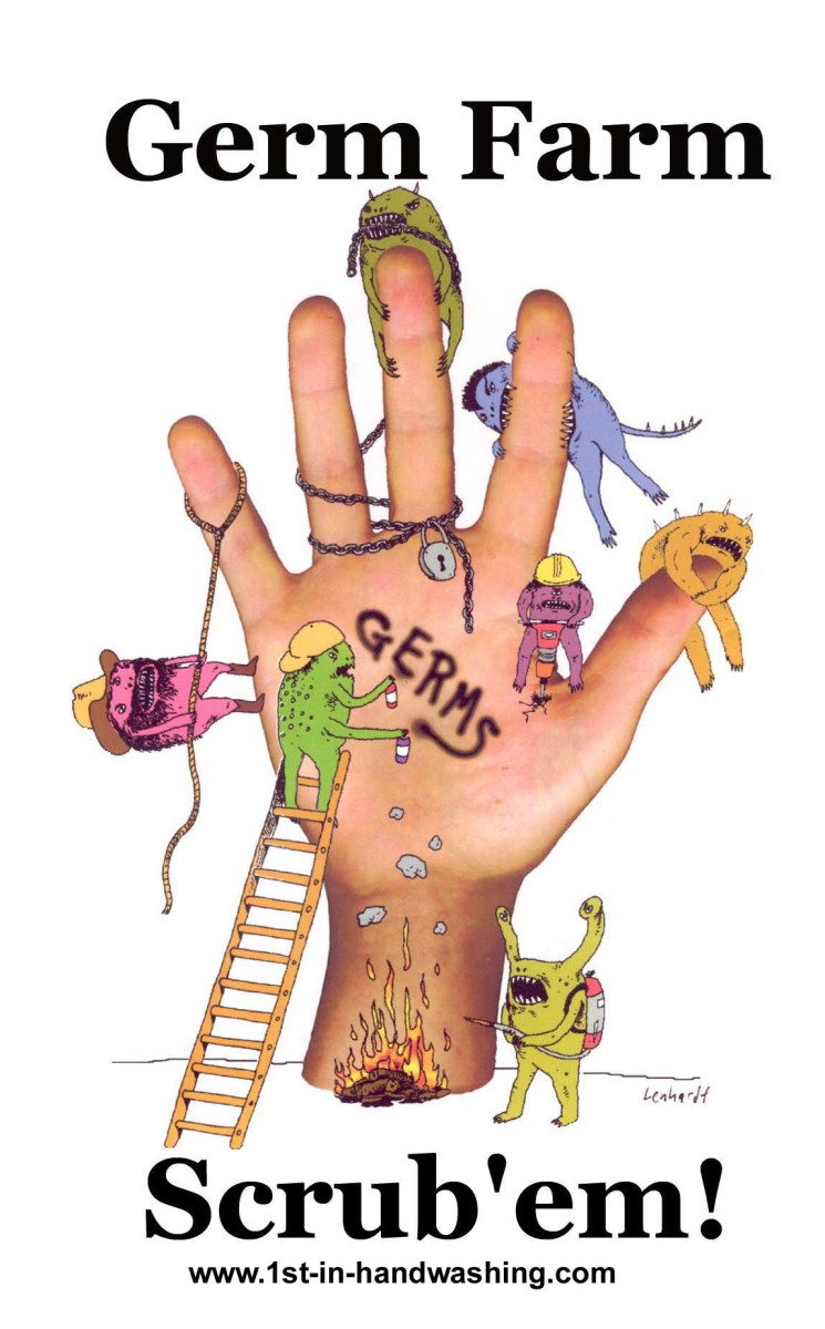 Poster Germ Farm on Human Hand with Colorful Germs and the Word Germs and the Verbiage Promoting Scrub 'Em