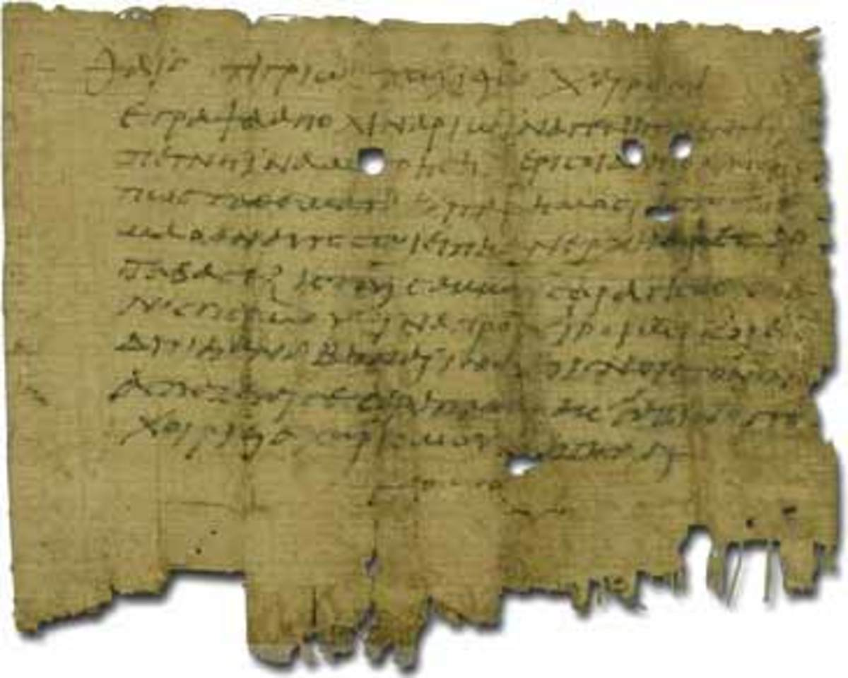 A letter written on papyrus