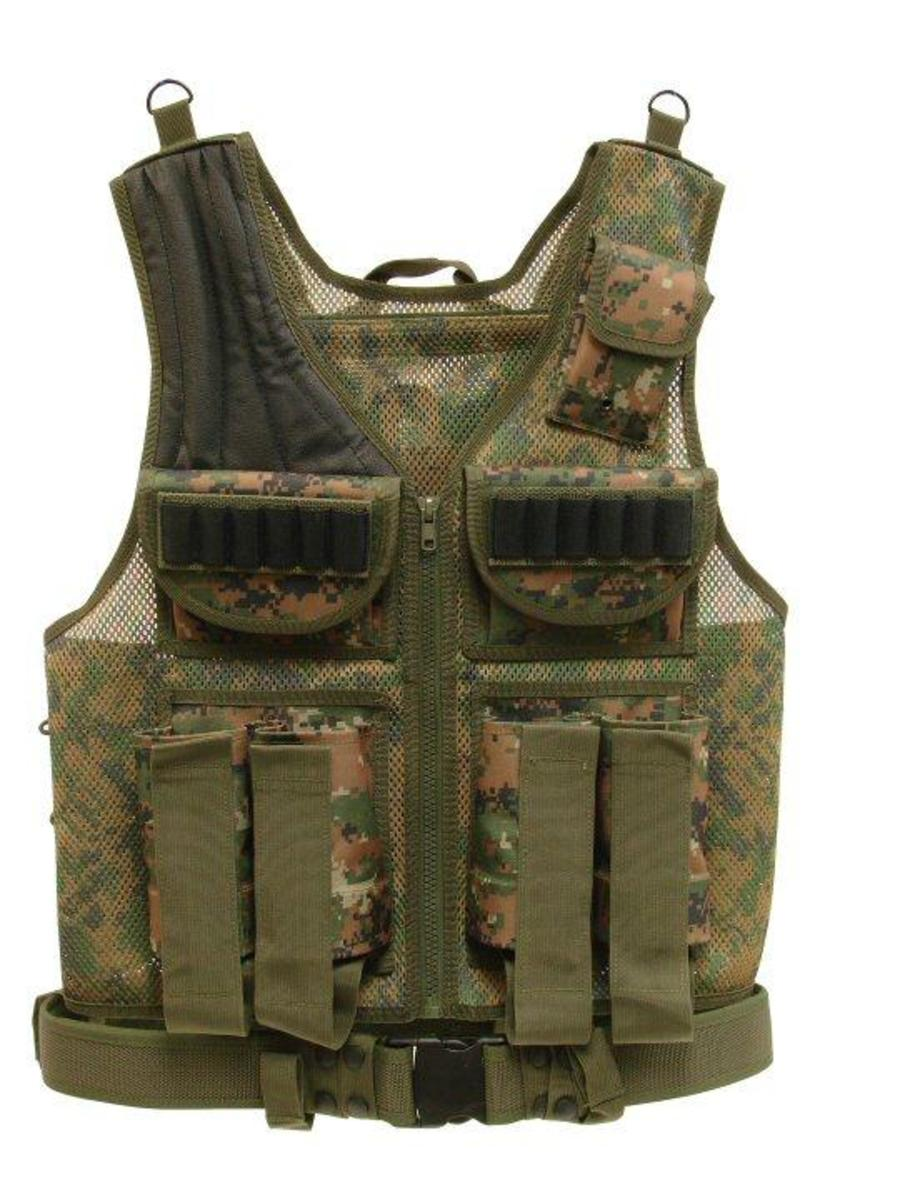 While camouflage is not that important in paintball, this vest holds up to 4 paintball canisters