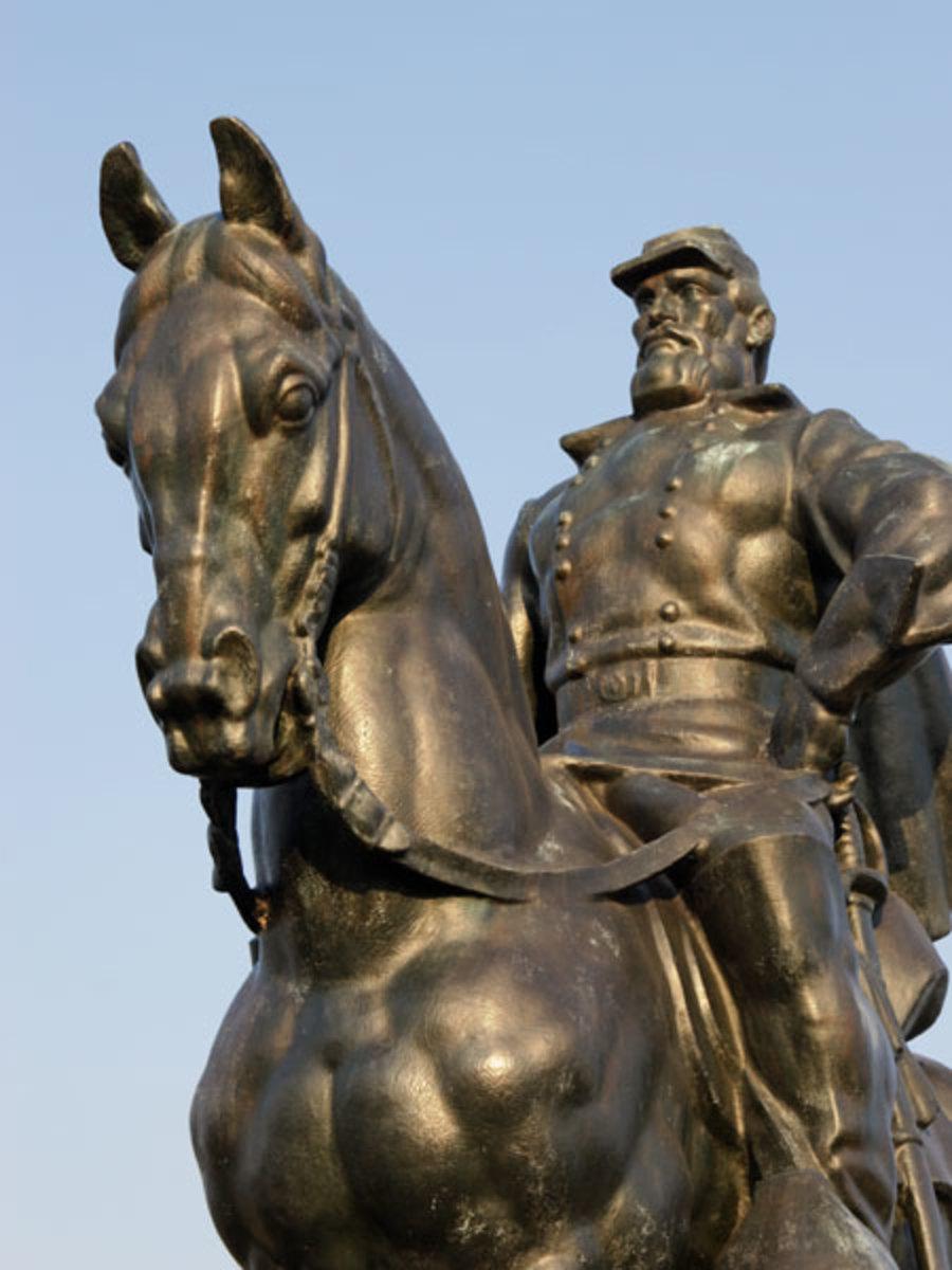 "In Manassas, Virginia, this bronze statue of General Thomas J. ""Stonewall"" Jackson astride his horse ""Little Sorrel"" commemorates the Civil War Battle of Bull Run"