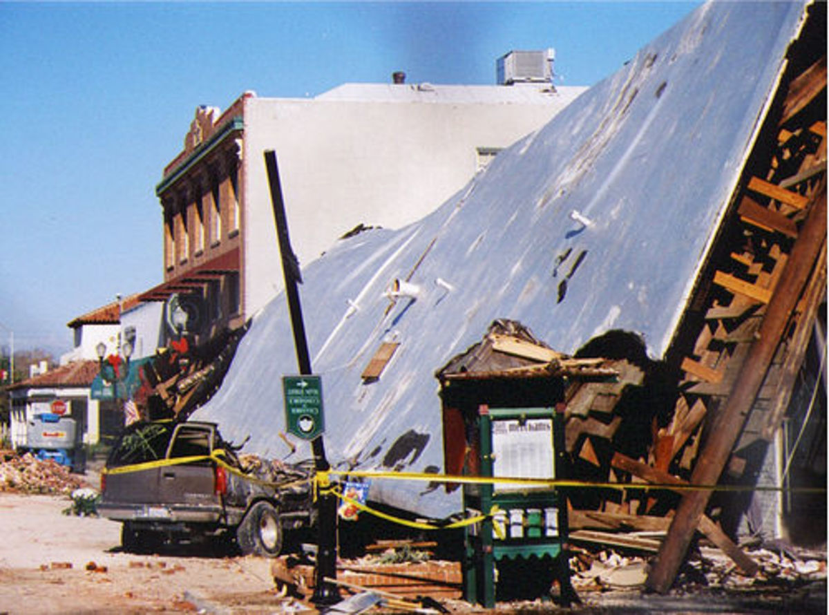 Damage caused by an earthquake in California.