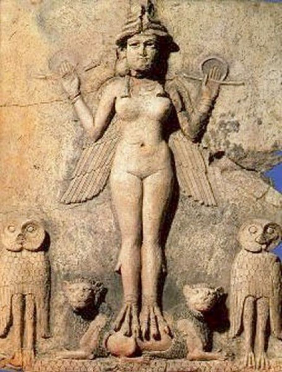 Sumerian Goddess Ishtar with Owls