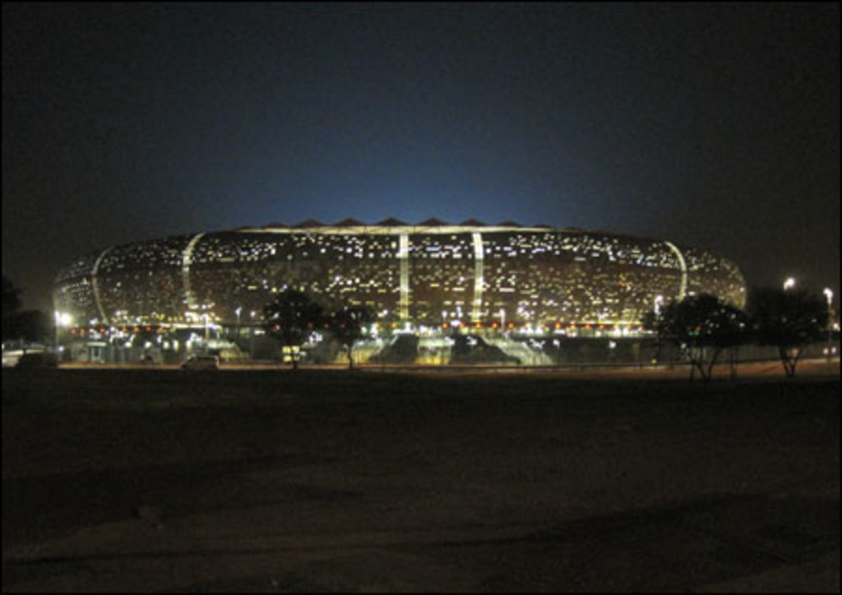 Soccer City in Johannesburg, South Africa. One of the ten stadia either built or renovated for the 2010 FIFA World Cup.