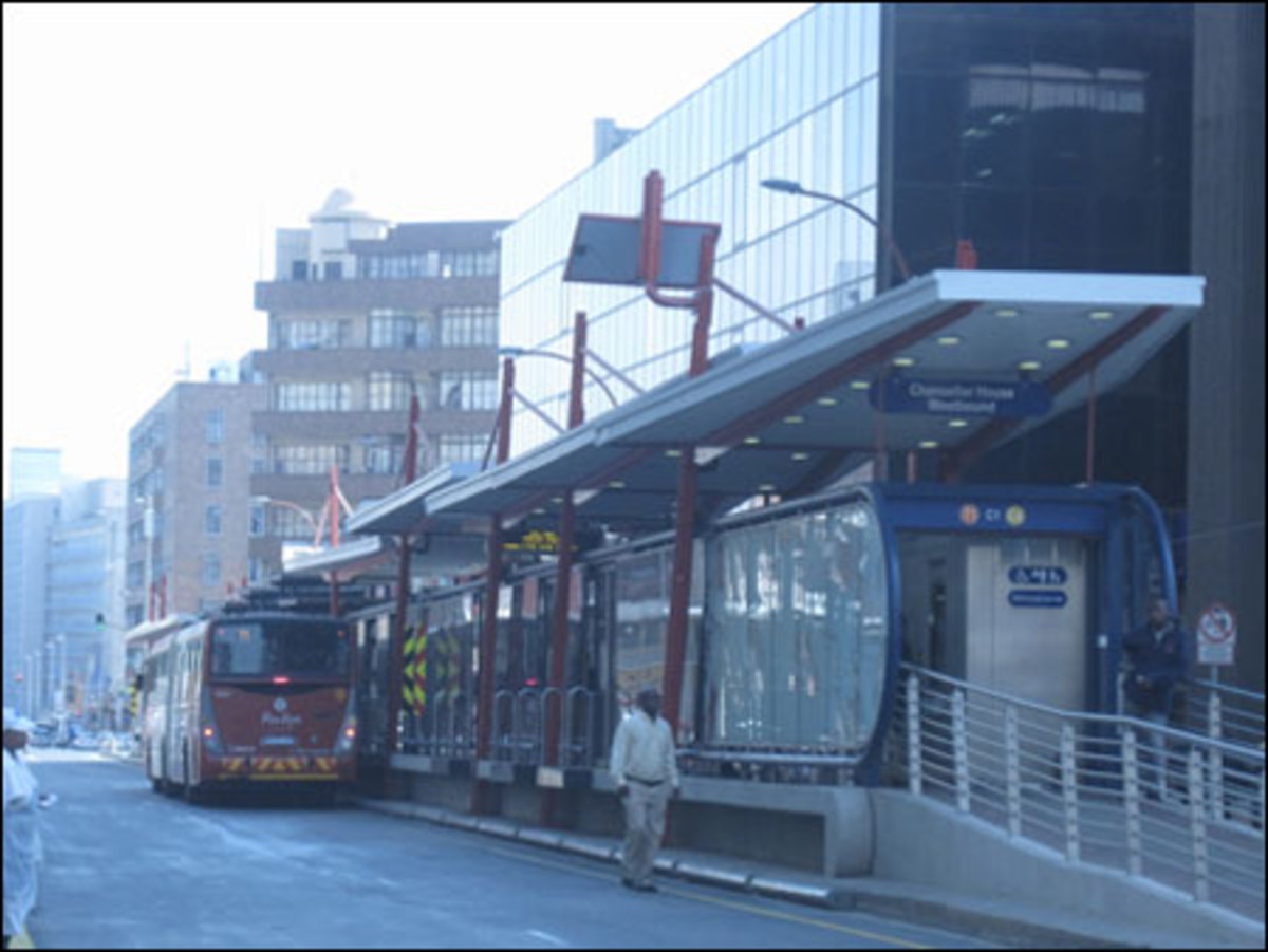 The Rea Vaya bus rapid transit system in downtown Johannesburg.