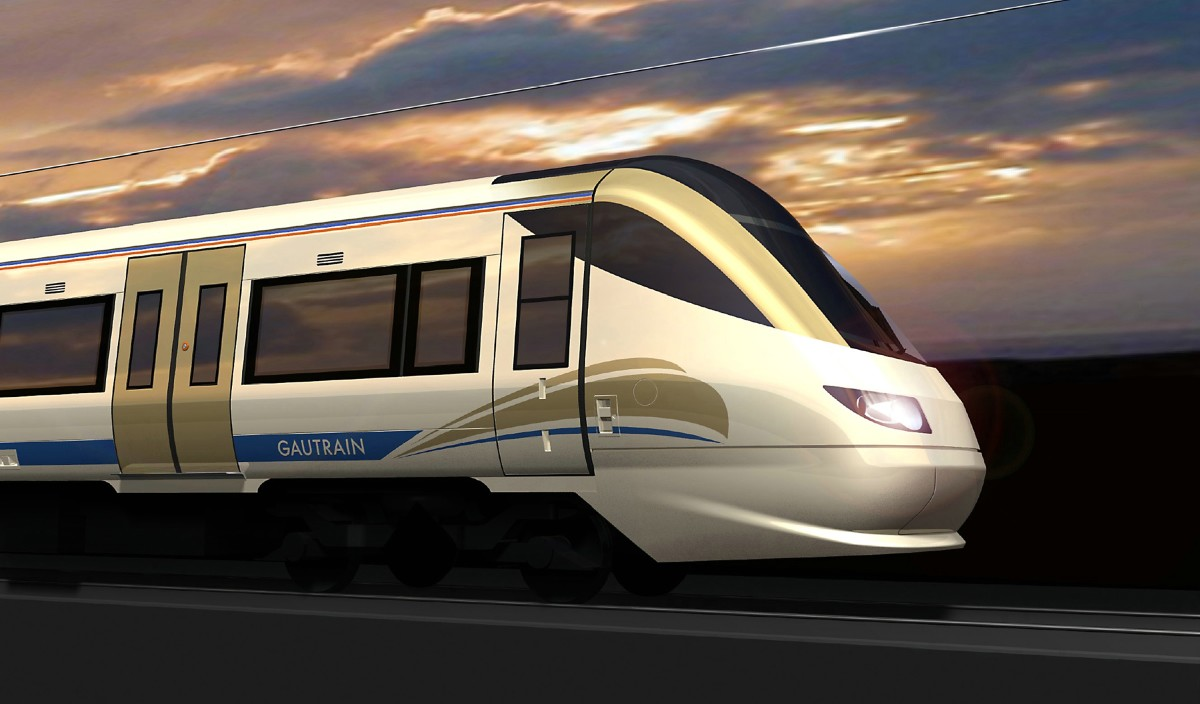Gautrain - South Africa's new bullet-like train which goes from Sandton City to the Airport(O.R. Tambo Airport)