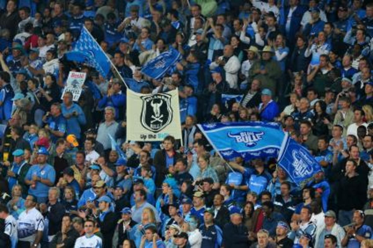 "Blue Bulls ""Bulle"" Fans at home in their newly adopted Orlando Stadium having the best time of the Finals..."