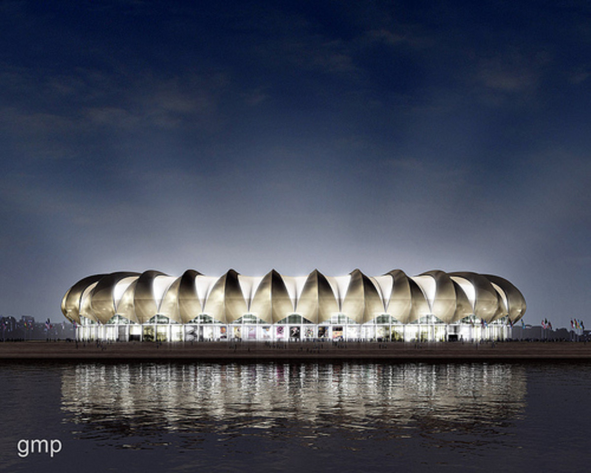 GMP Architekten's design for this brand new stadium in the relatively small but growing oceanside city of Port Elizabeth has an appropriately nautical feel. Overlooking the city's North End Lake, the stadium exterior emulates the sails of an early tr