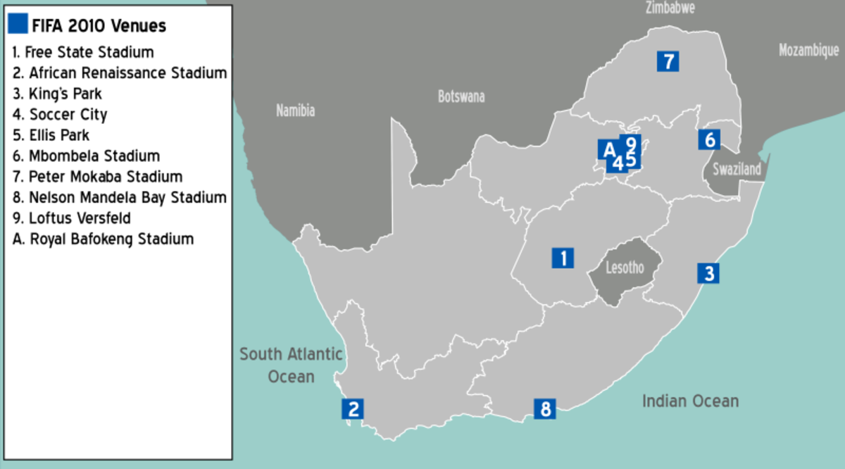 The location of Stadiums throughout South Africa