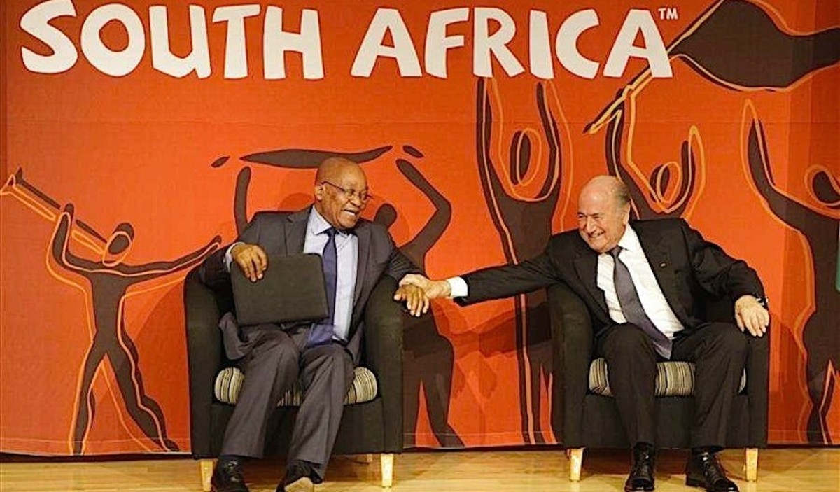 See Main Photo Of FNB At Start Of This Hub.. Before the tournament: The flagship Soccer City in Soweto, aka First National Bank Stadium. South Africa's monopoly capitalist construction firms and their Black Economic Empowerment allies inflated prices