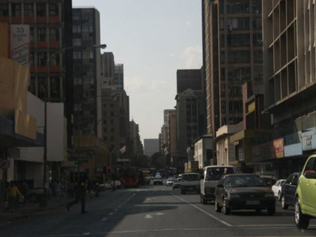 Driving along a street in downtown JNB, you can hardly find anyting related to the World Cup.