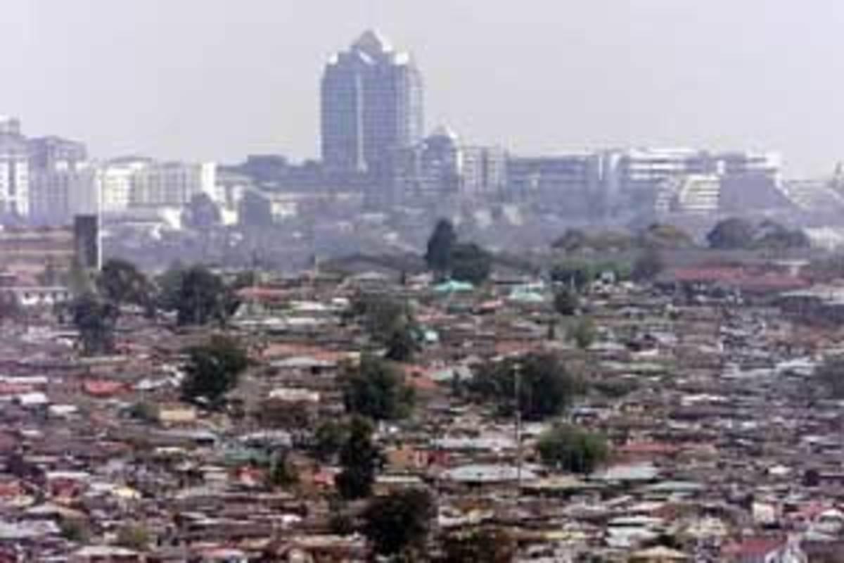 Alexandra Township, a slum on the outskirts of Johannesburg City