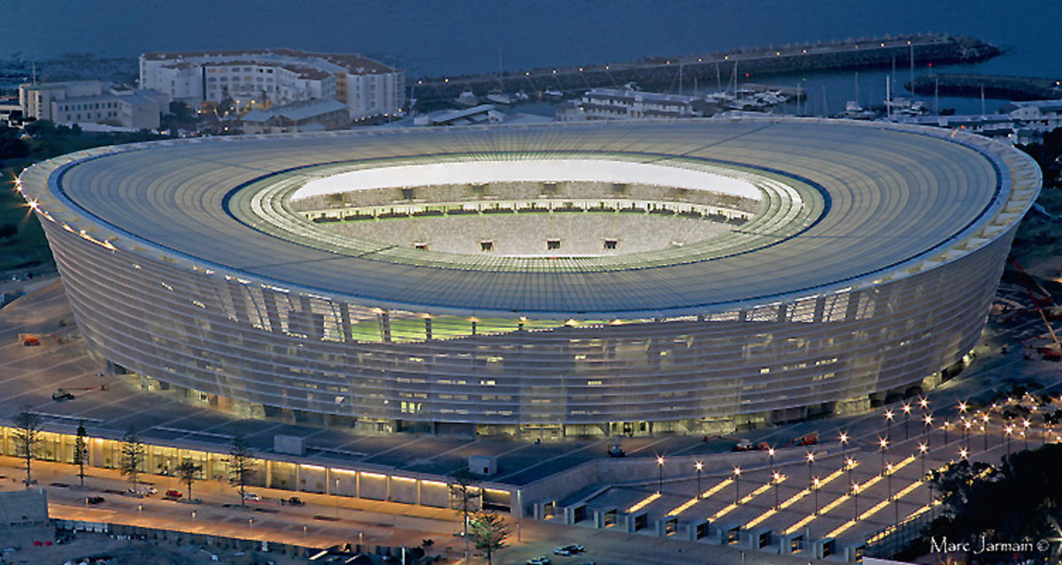 Aerial view of the Billion Rand Stadium-at the cost of the poor who were moved to Blikkeisdrop