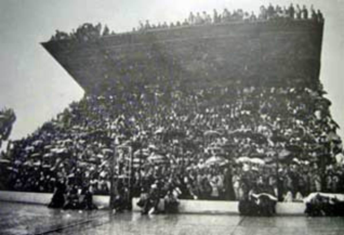 Part of the Old Orlando Stadium grandstand shown with soccer fans right on top of the roo.