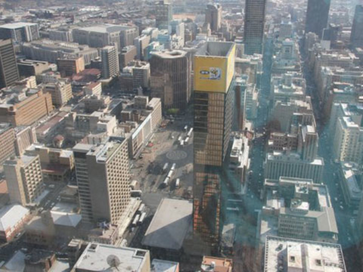 "A bird's eye view of Gandhi Square from the ""Top of Africa"" tower in downtown Johannesburg."