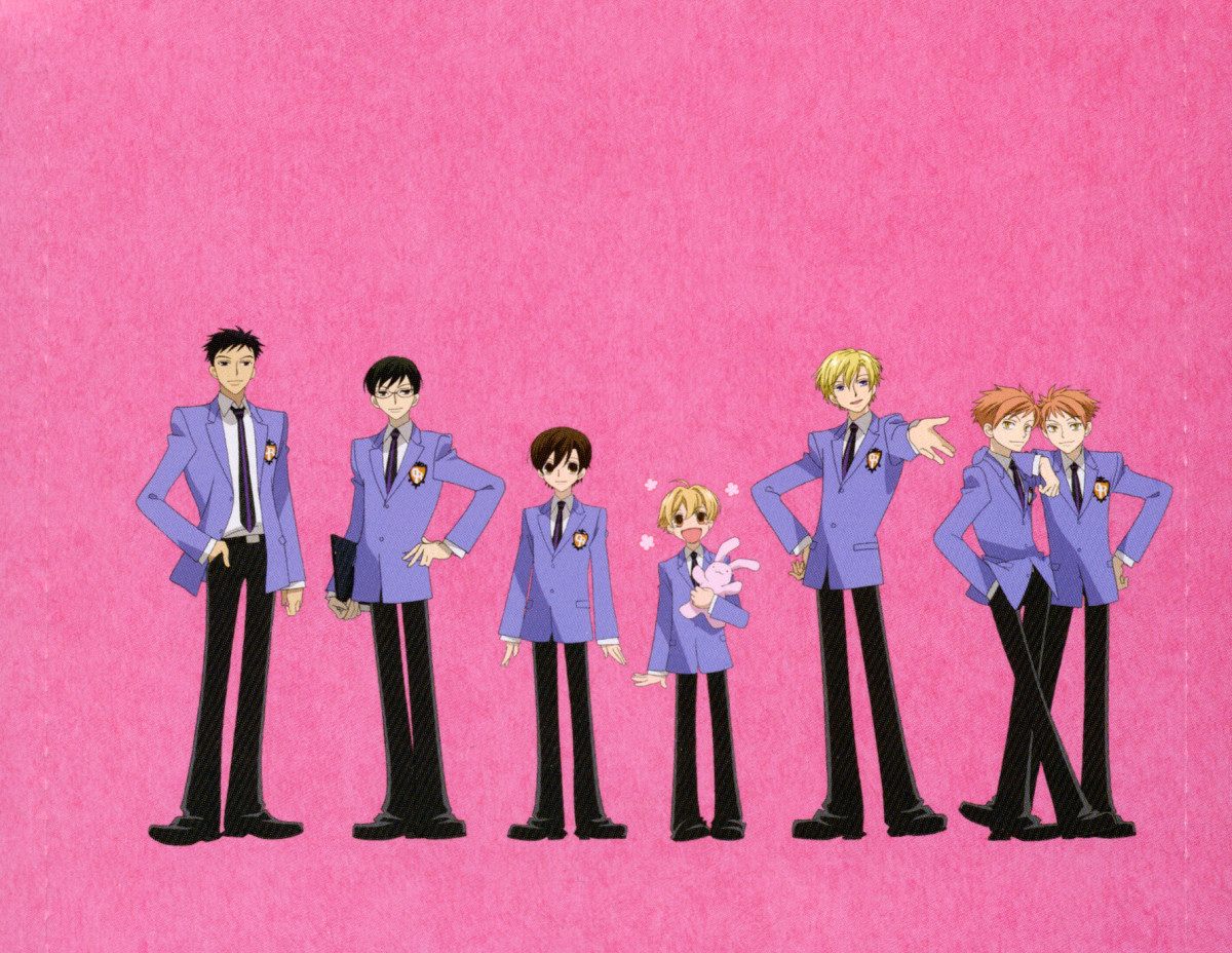 The Ouran Host Club boys with Haruhi Fujioka