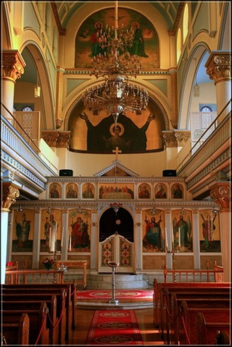 The interiors of Greek Orthodox churches are rich with iconography and symbolism.