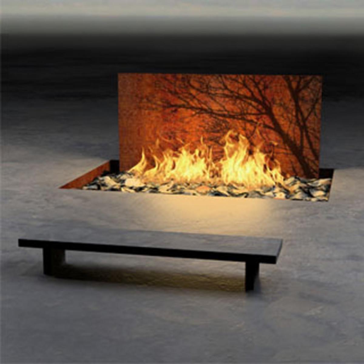 Sleek Art Backdrop Fireplaces
