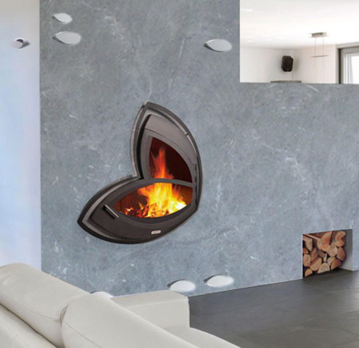 Edgy Asymmetrical Fireplaces