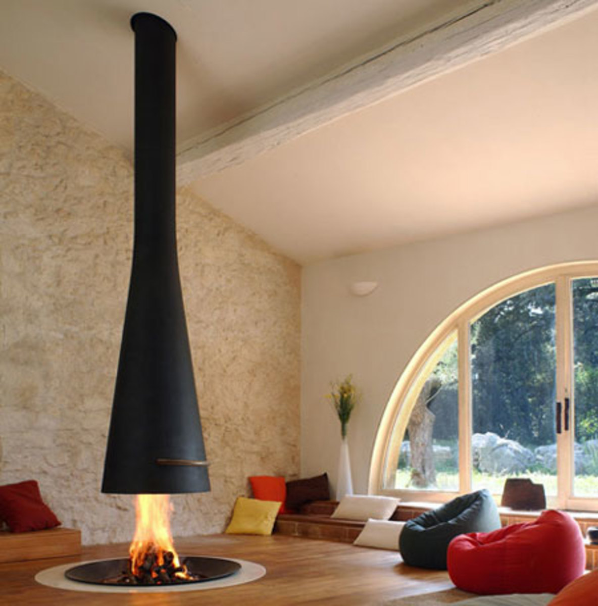 Suspended Wood-Burning Fireplaces