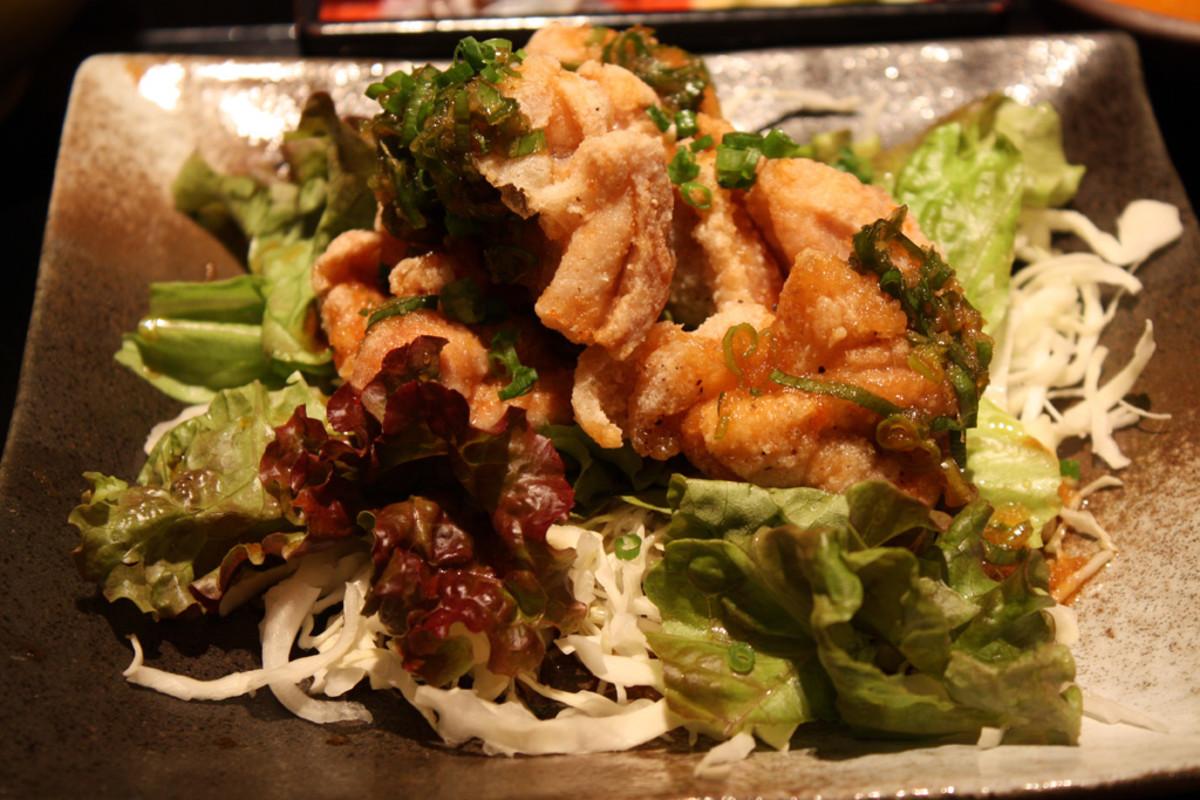 Green Leafy Vegetables & strips of pork rinds