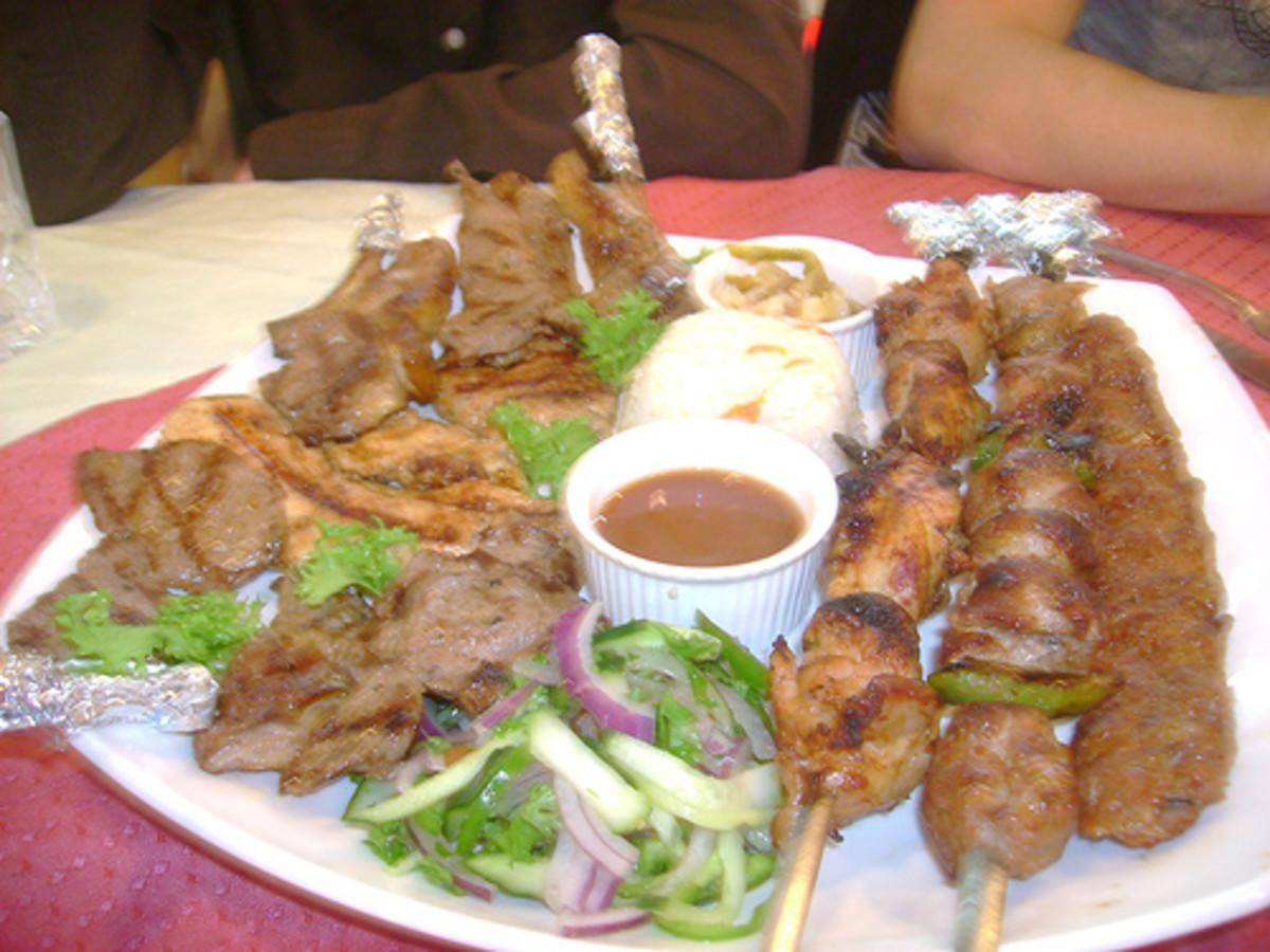 Lamb and Chicken Shish, Adana Kebap, and Lamb Chops