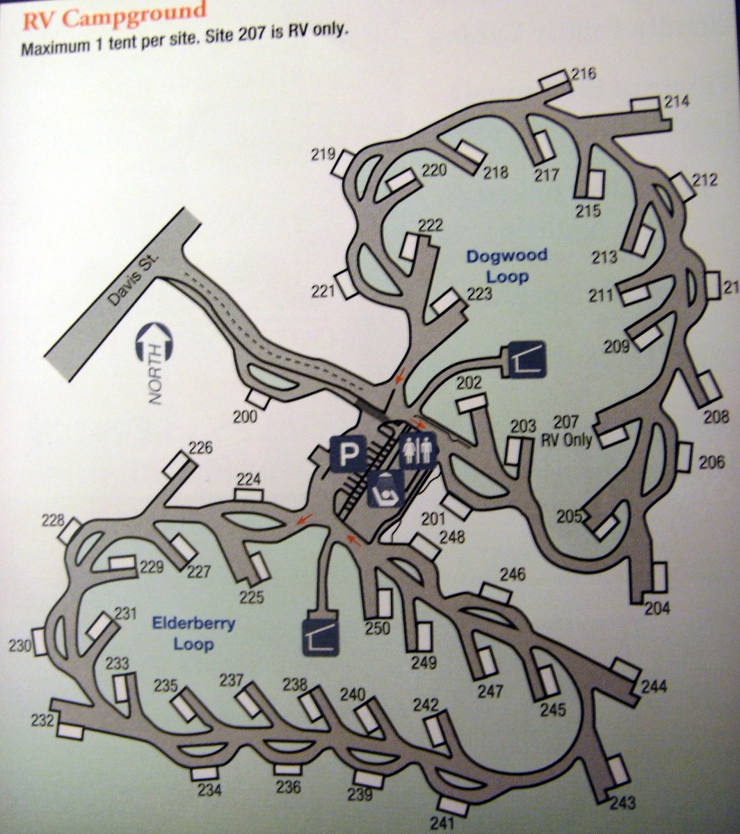 Campsite map of the RV Campground