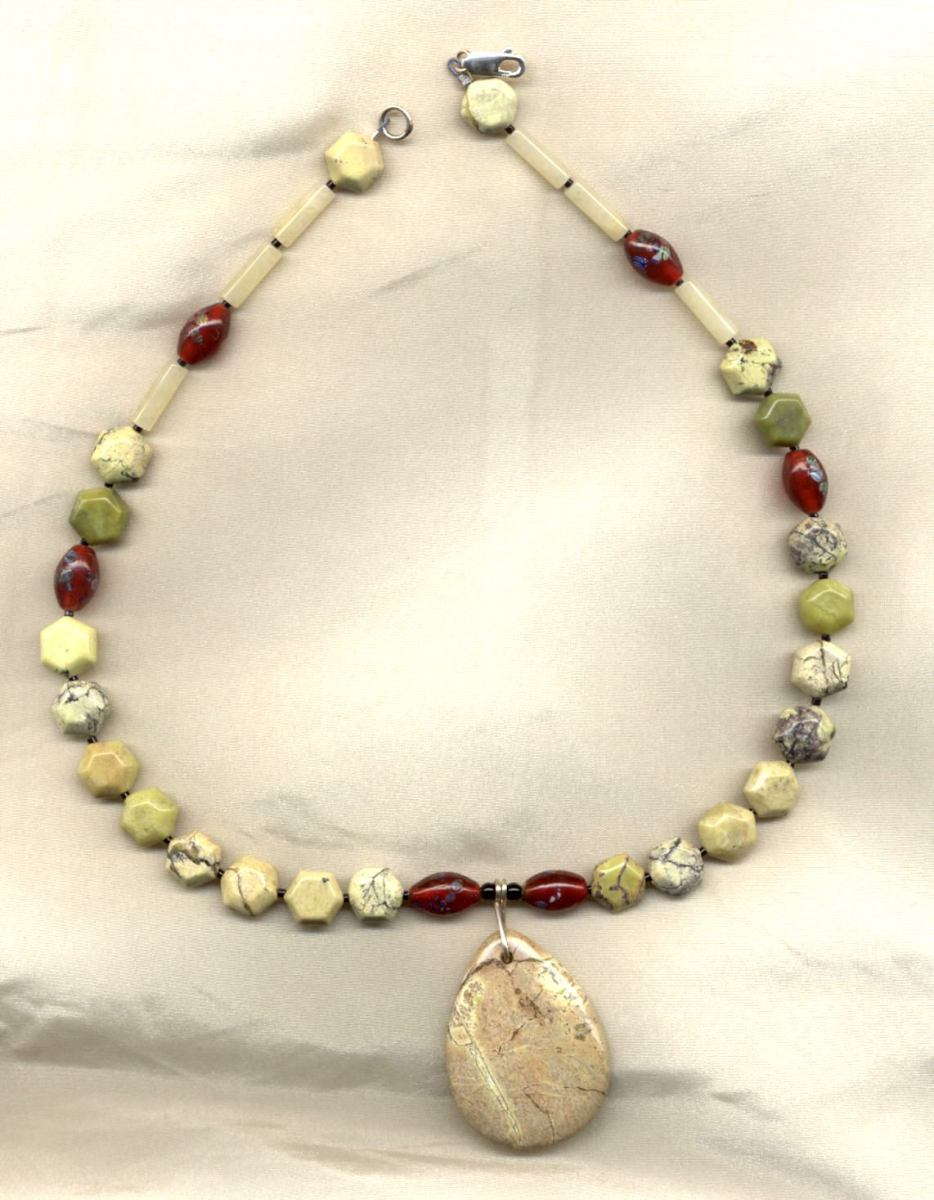 The Millefiori Are Strong Accent Beads in This Yellow (Turquoise) Jasper Necklace