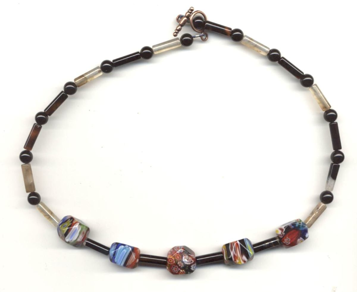 Necklace I Made With Focal Millefiori Faceted Beads and Black Agate
