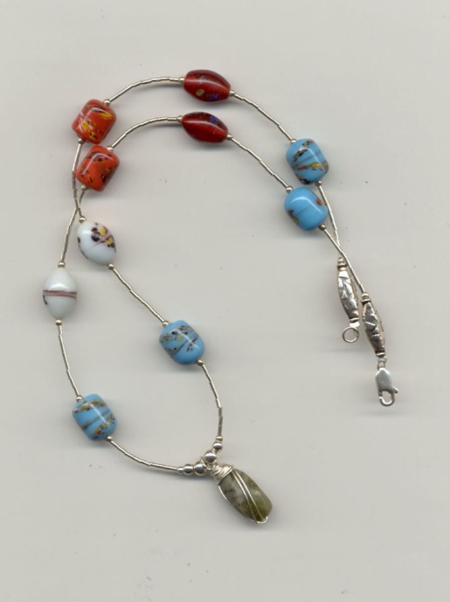 Pretty Liquid Silver Necklace With Millefiori Glass Beads - Every One Unique