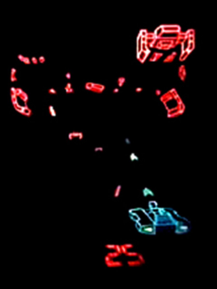 The colourful Tron-like graphics in Tomy Sky Attack