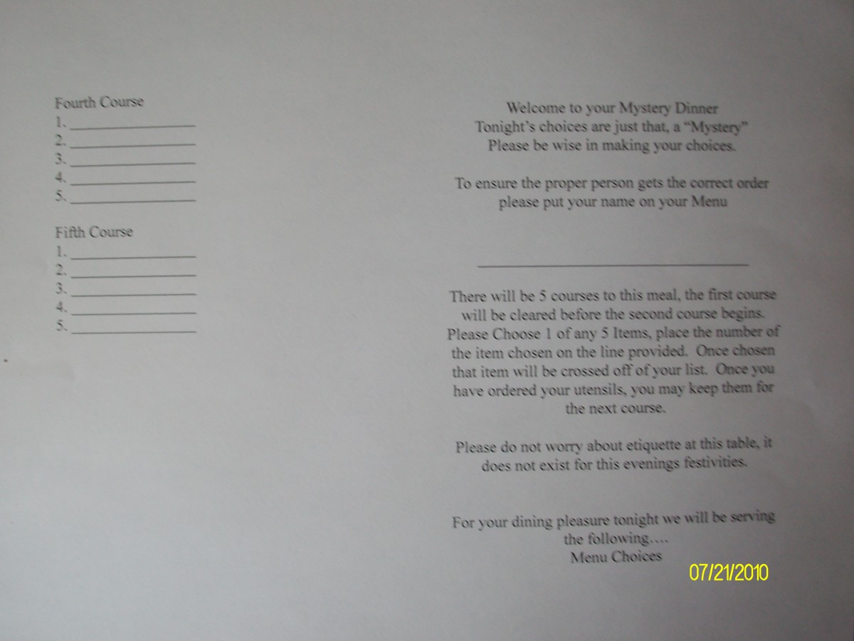 Front of double sided menu