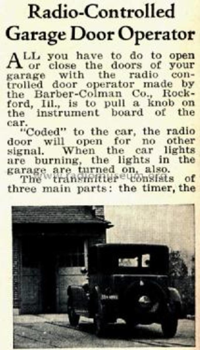 radio controlled garage door opener news clipping about Barber Colman
