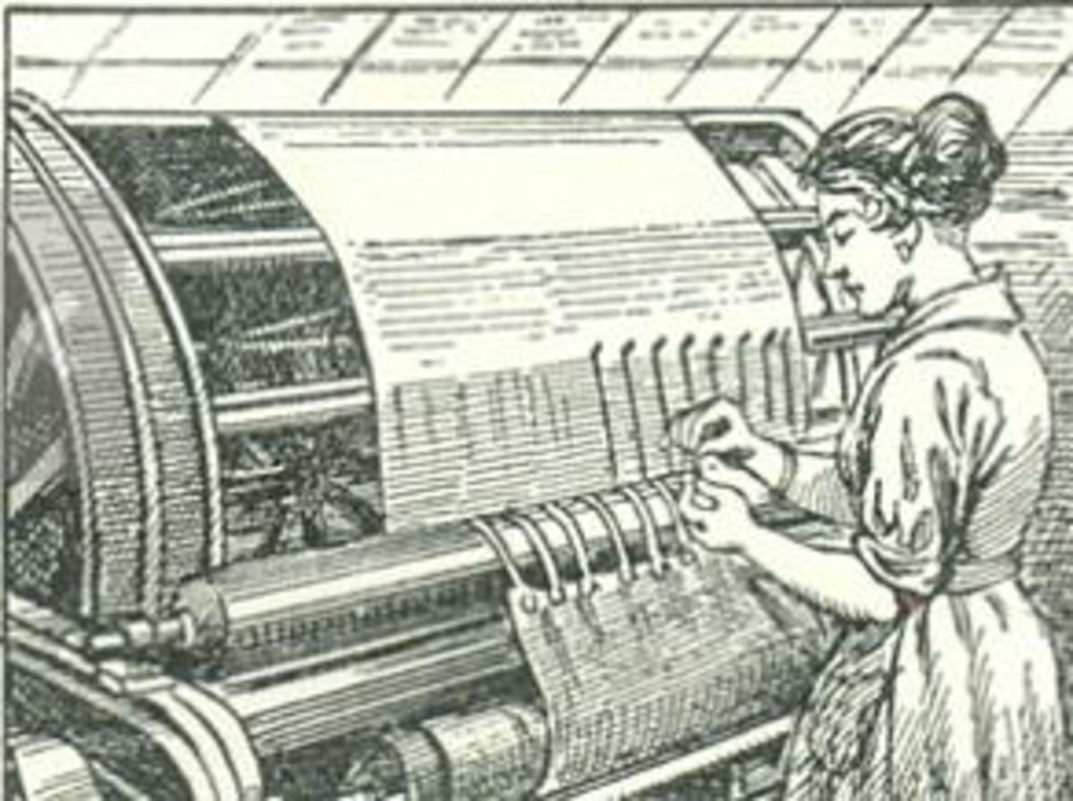 vintage line drawing of a female worker manually tying knots on a textile loom - Howard Coman invented the knot tying machine that catapulted the industrial revolution