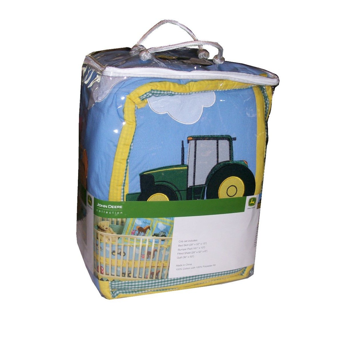 Decorate the baby's room with John Deere. This bedding set is colorful and nicely designed.