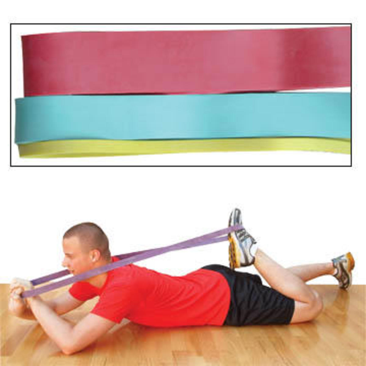 Sample Resistance Band Exercise with Male Demonstrating Proper Positioning
