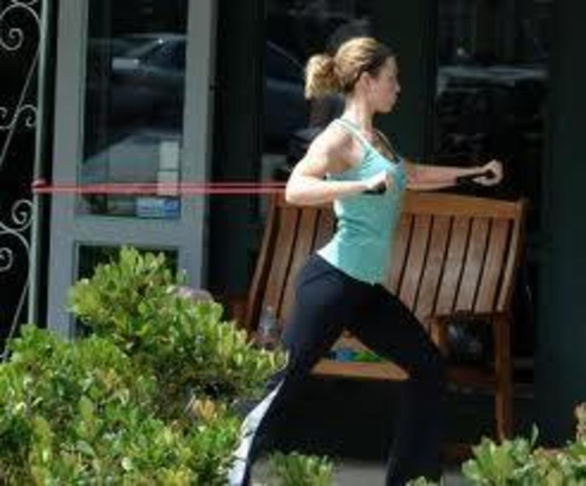 Example of Resistance Band Exercise Outdoors